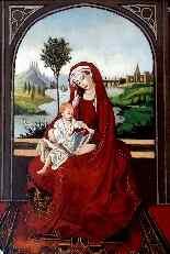 Madonna col Bambino XVI seguace di Roger Van der Weyden-11
