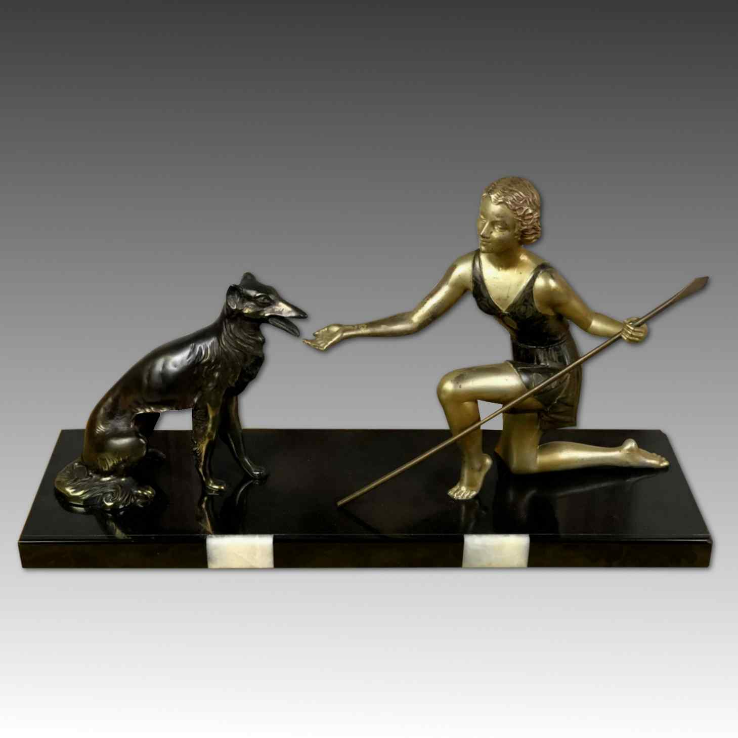 Art Deco Sculpture Diana With The Chein