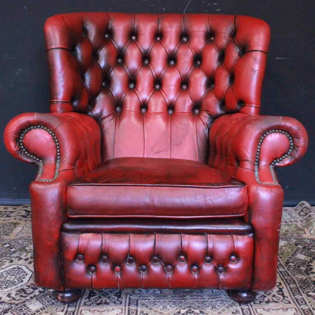 Poltrona inglese Chesterfield bergere - pelle rosso bordeaux