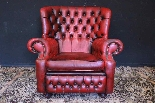 Poltrona inglese Chesterfield bergere - pelle rosso bordeaux-0