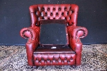 Poltrona inglese Chesterfield bergere - pelle rosso bordeaux-2