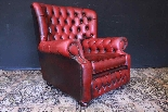 Poltrona inglese Chesterfield bergere - pelle rosso bordeaux-8
