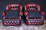 Coppia poltrone Chesterfield bergere in pelle bordeaux-1