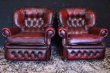 Coppia poltrone Chesterfield bergere in pelle bordeaux-6