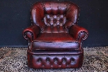 Coppia poltrone Chesterfield bergere in pelle bordeaux-7