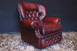 Coppia poltrone Chesterfield bergere in pelle bordeaux-10