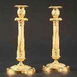 Rare Pair Of Gilt Bronze Empire Candlesticks After Thomire-2