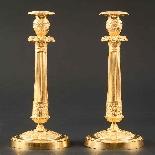 Rare Pair Of Gilt Bronze Empire Candlesticks After Thomire-0
