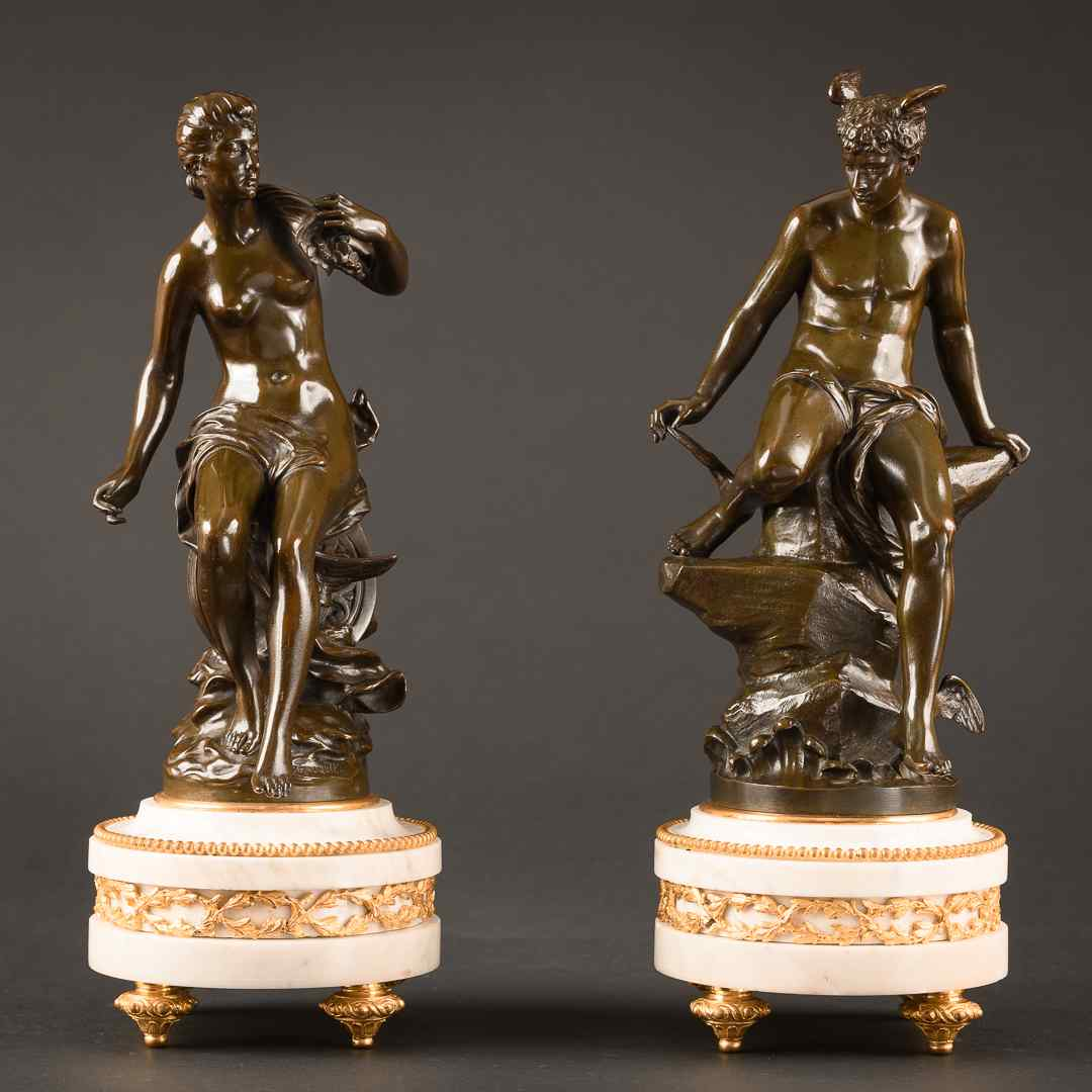 Charming Pair Of Mythological French Bronze Sculptures