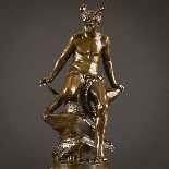 Charming Pair Of Mythological French Bronze Sculptures-2