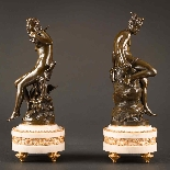 Charming Pair Of Mythological French Bronze Sculptures-1