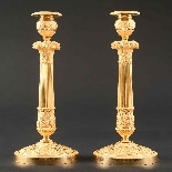 Signed Galle - Rare Large Pair Of Empire Candlesticks-1