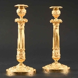 Signed Galle - Rare Large Pair Of Empire Candlesticks-2