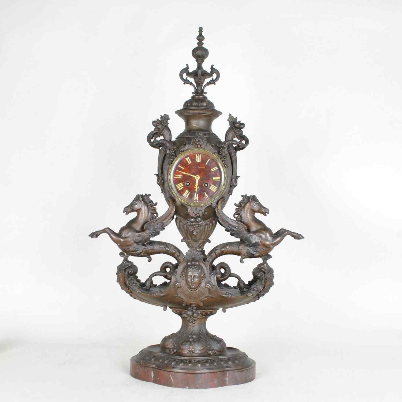Blot & Drouard, pendolo con cavallucci marini alati, Napoleo