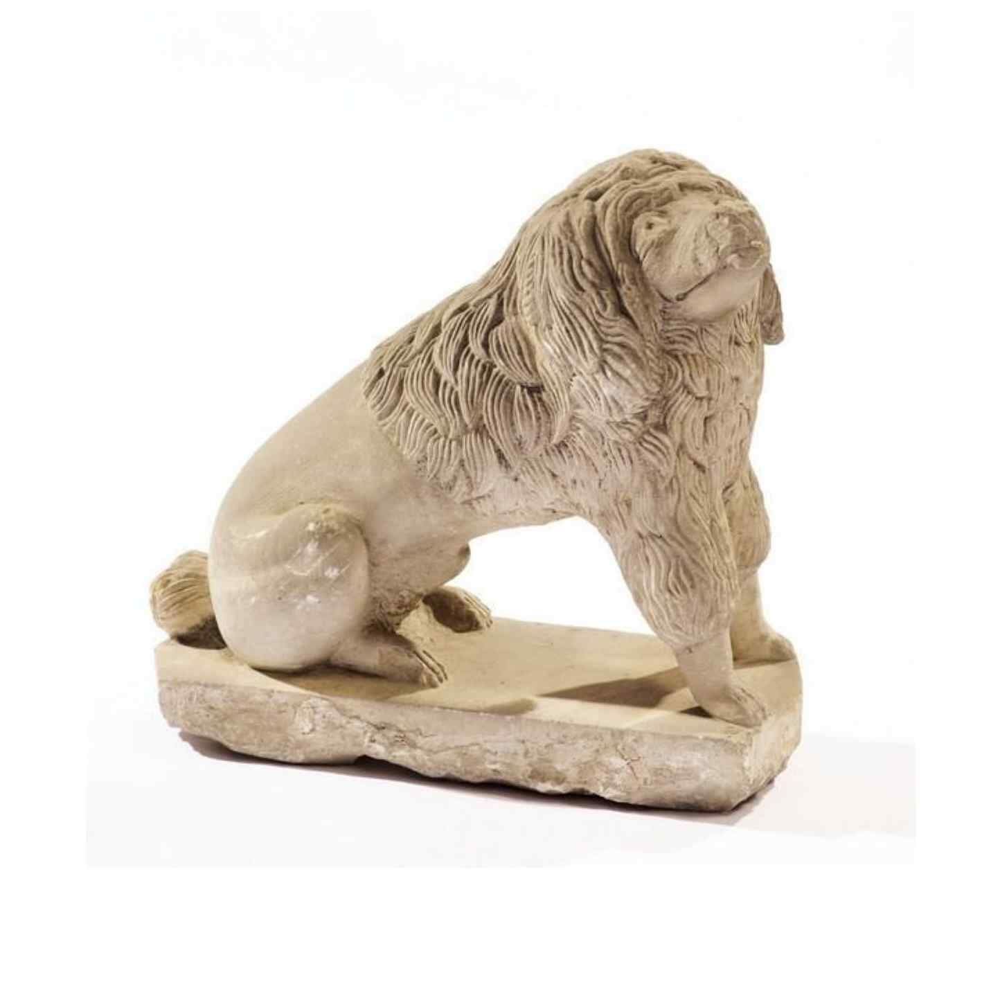 Rare sculpture of a dog in stone from the Romanesque period