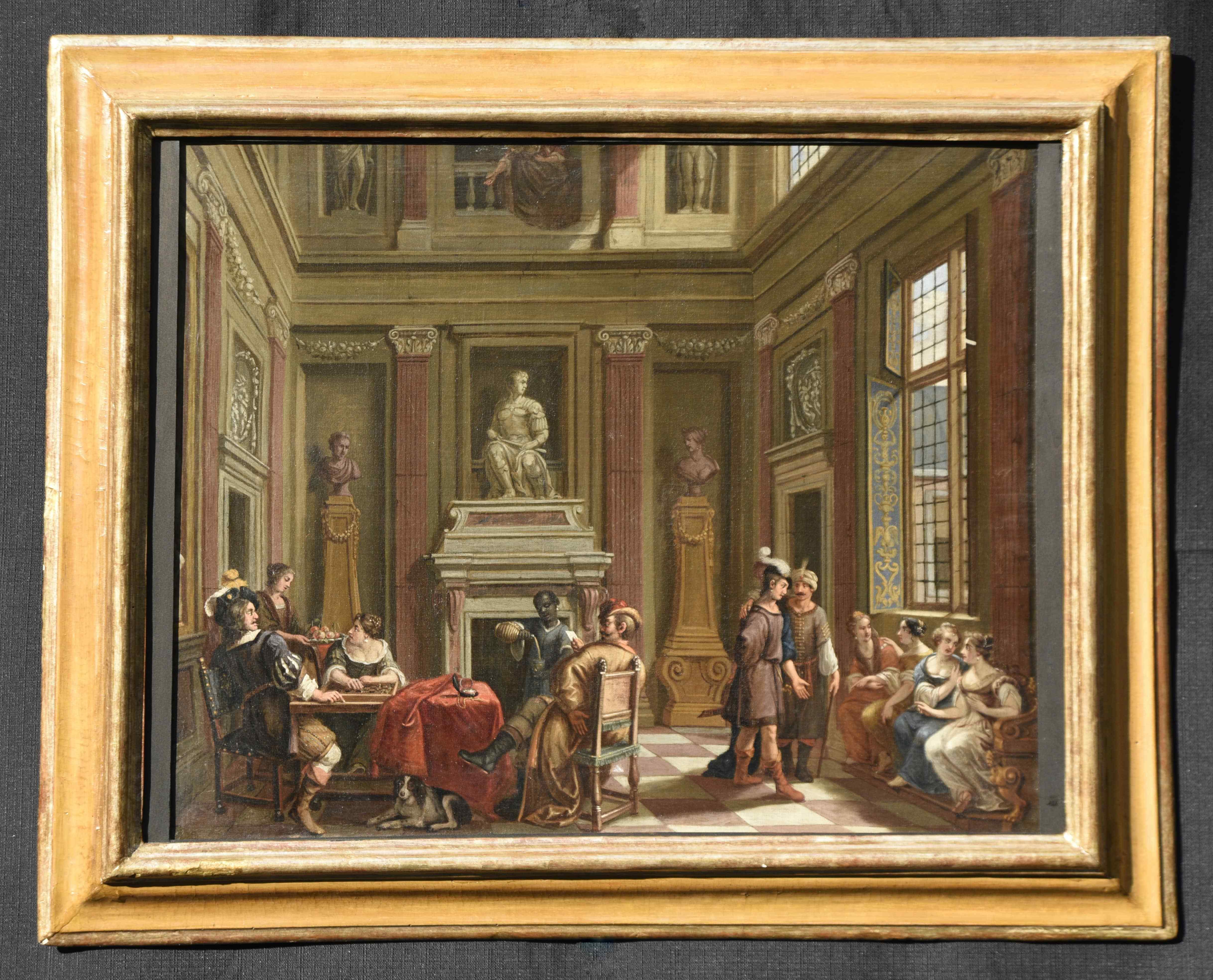 Antico dipinto del XVII secolo scuola olandese