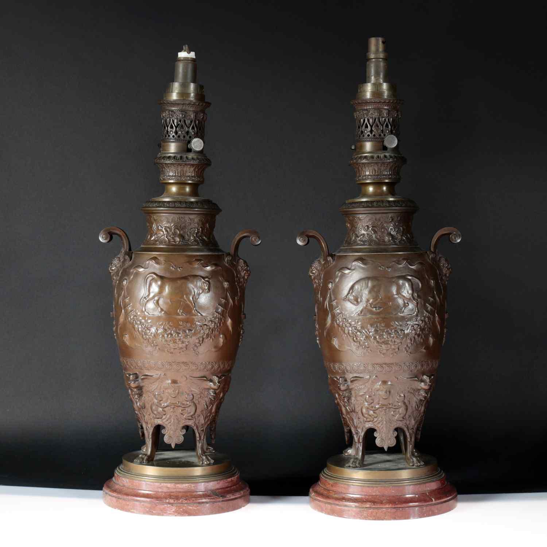 Ferdinand Levillain (1837-1905), Paire de lampes, XIXe