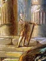 Paesaggio con rovine e figure, quadro del XVIII Secolo-10