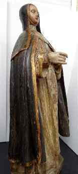 Antique important Statue of St. seventeenth Carved wood-14