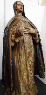 Antique important Statue of St. seventeenth Carved wood-13