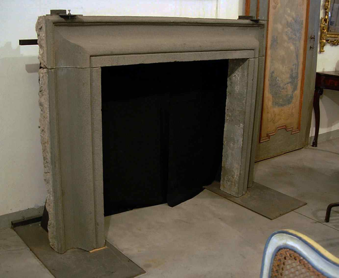 Stone fireplace. Salvator Rosa sec. XVII
