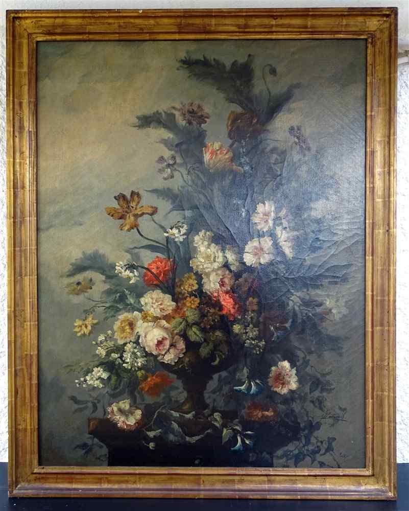 Importante composizione floreale 19, Olio / tela