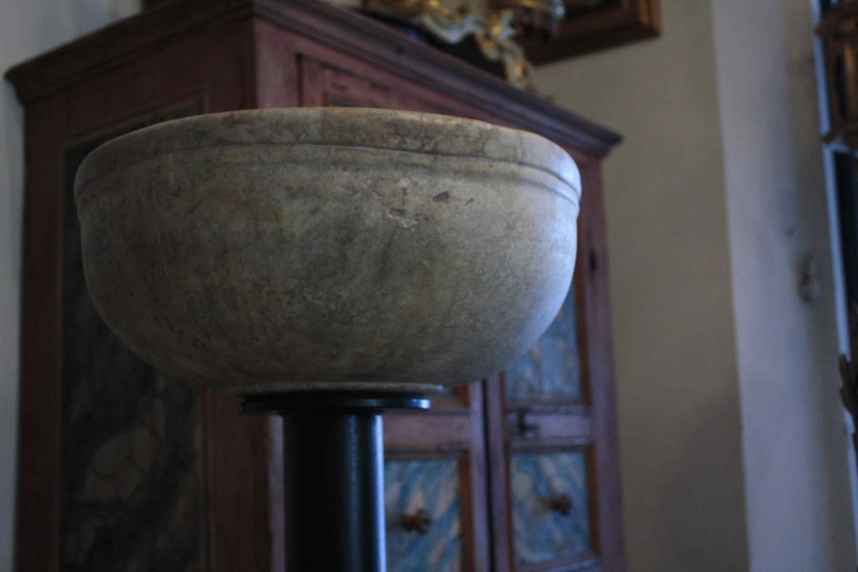 Baptismal font in marble