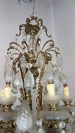 lustre antique en bronze doré du 18ème siècle lumières de dé-1