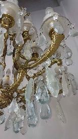 lustre antique en bronze doré du 18ème siècle lumières de dé-4