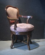 Swivel armchair in walnut wood-1