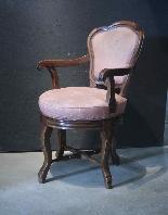 Swivel armchair in walnut wood-3