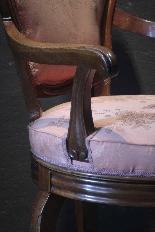 Swivel armchair in walnut wood-4