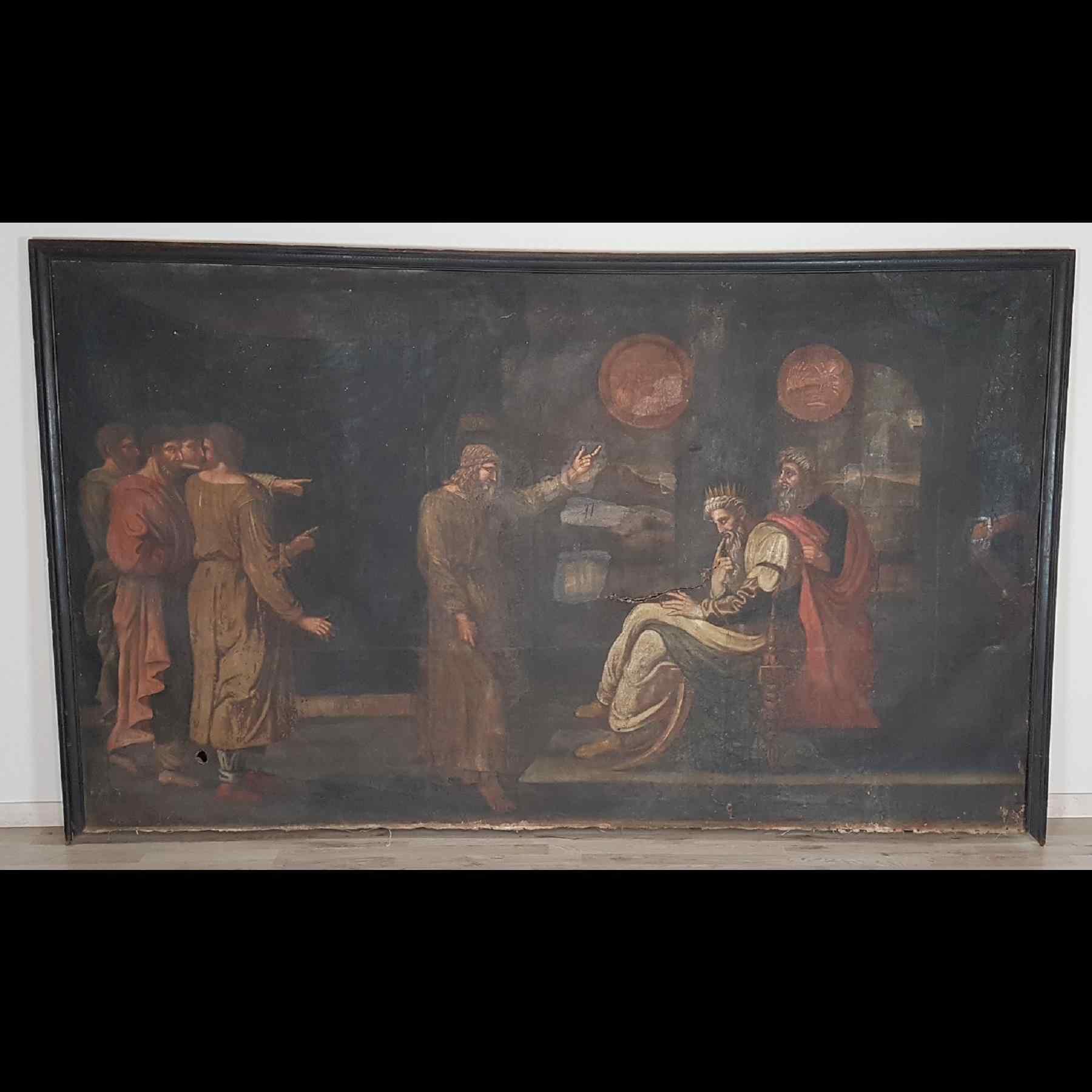 Large antique painting 250 x 153 cm oil on canvas XVII centu