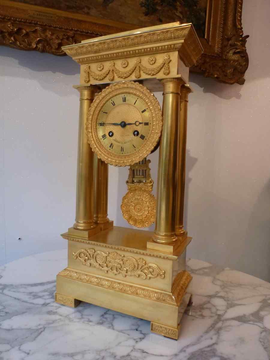 Pendule Portique Bronze Doré époque Restauration