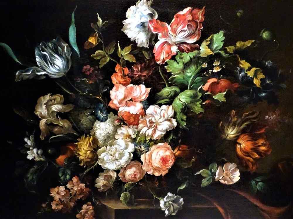 Jan Van Thielen 1618-1667 Composizione floreale su un Entabl