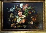 Jan Van Thielen 1618-1667 Composizione floreale su un Entabl-1