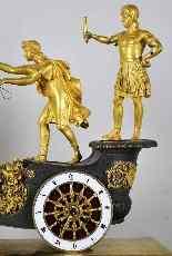 Imperatore sul suo carro, orologio in bronzo del XIX secolo-0