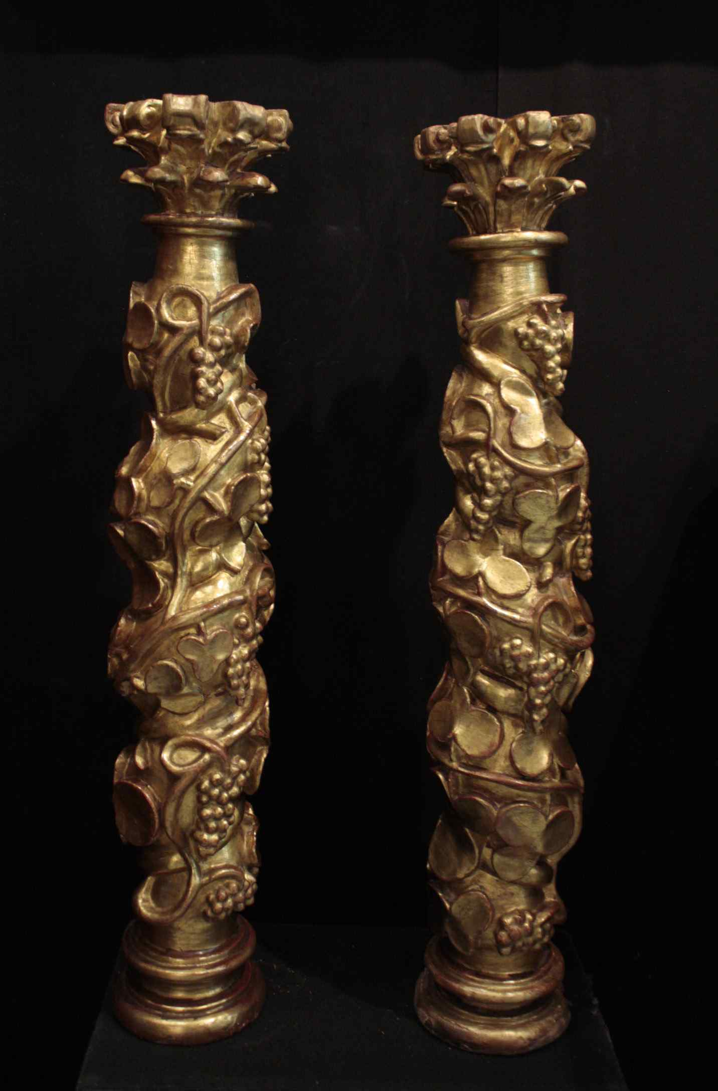 Pair of golden columns, Spain, 17th century