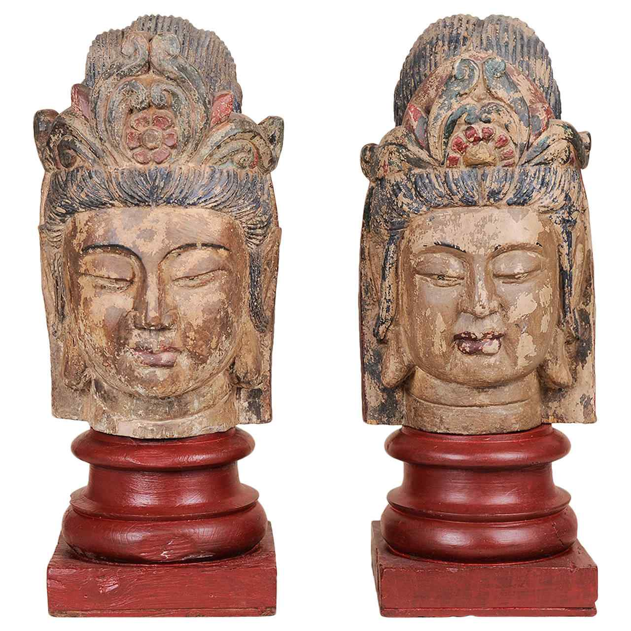 Pair of polychrome wooden sculptures