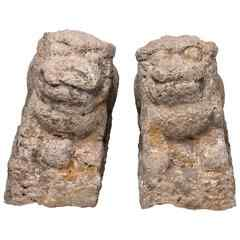 Pair of ancient stone lions