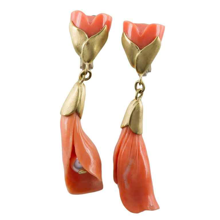 dangling earrings in the shape of