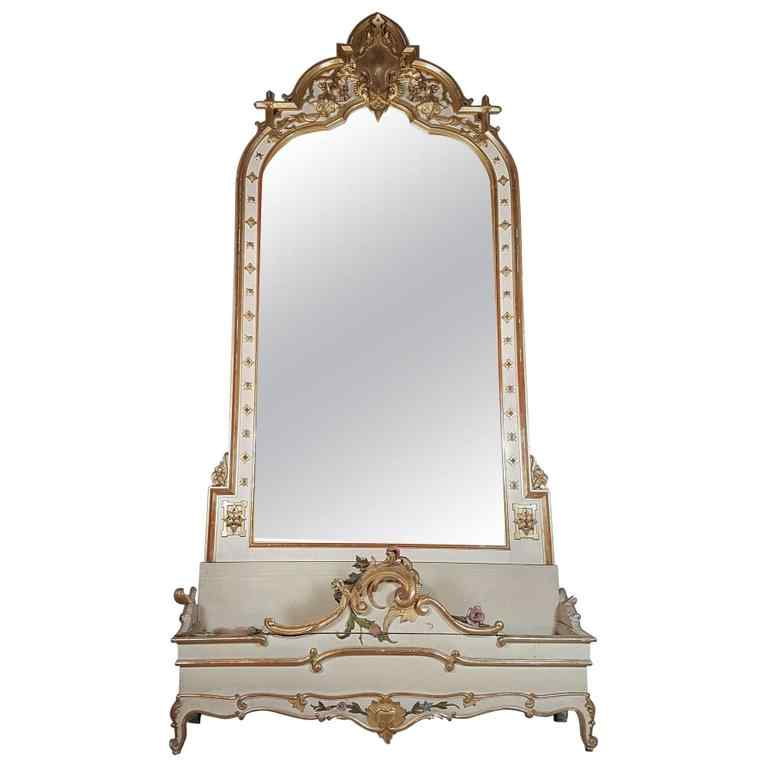 19th Century  Baroque Style Carved Lacquered Golden mirror