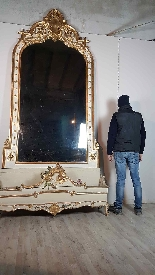 19th Century  Baroque Style Carved Lacquered Golden mirror-0