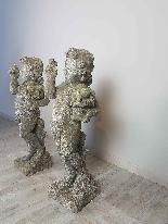 Paire de statues de jardin putti premier semestre XX-7