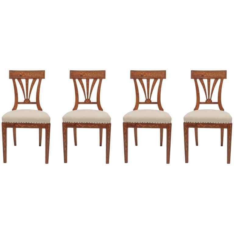 Elegant and Inlaid Austrian Biedermeier Chairs