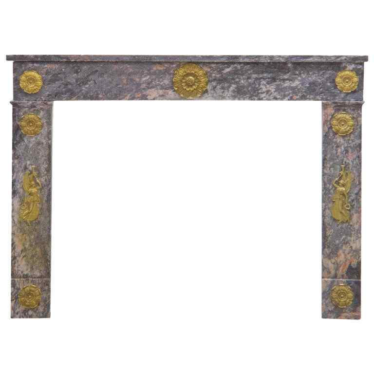 Marble Fireplace Charles X with important Gilt Bronze Frieze