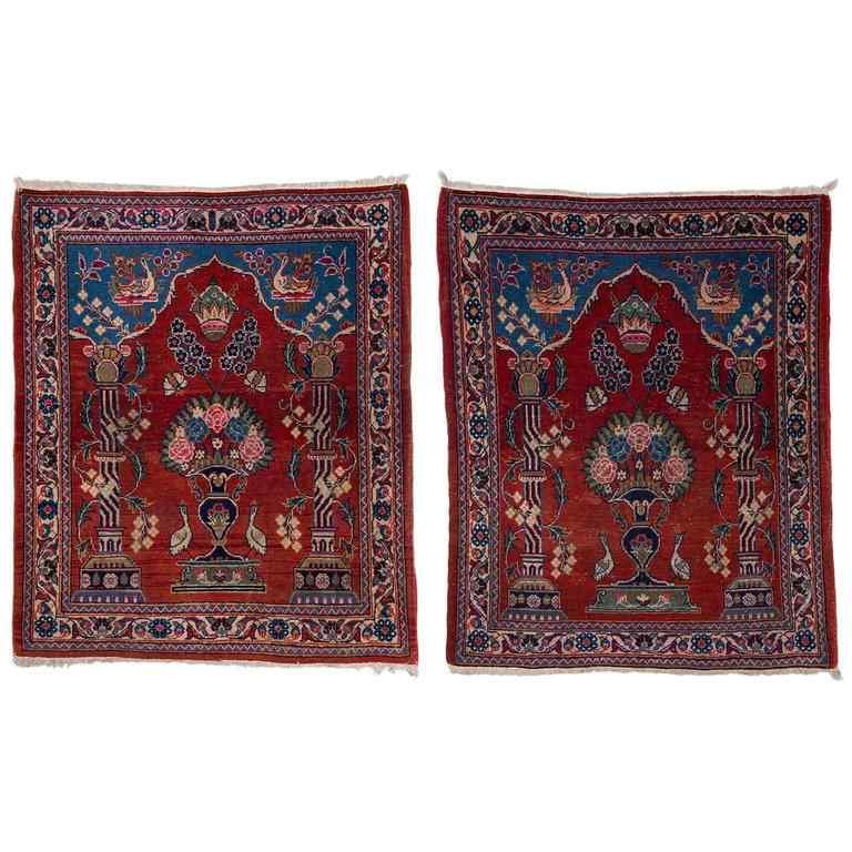 Vieux tapis de chevet Kashan, avec couronne