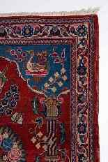 Vieux tapis de chevet Kashan, avec couronne-8