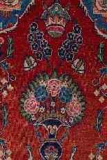 Vieux tapis de chevet Kashan, avec couronne-5