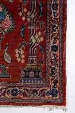 Vieux tapis de chevet Kashan, avec couronne-7